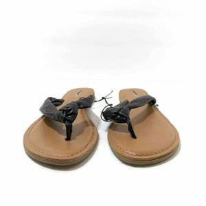 Express Womens Thong Sandals Black Beige Slip On